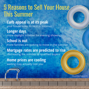 List of 5 reasons to sell your home in summer