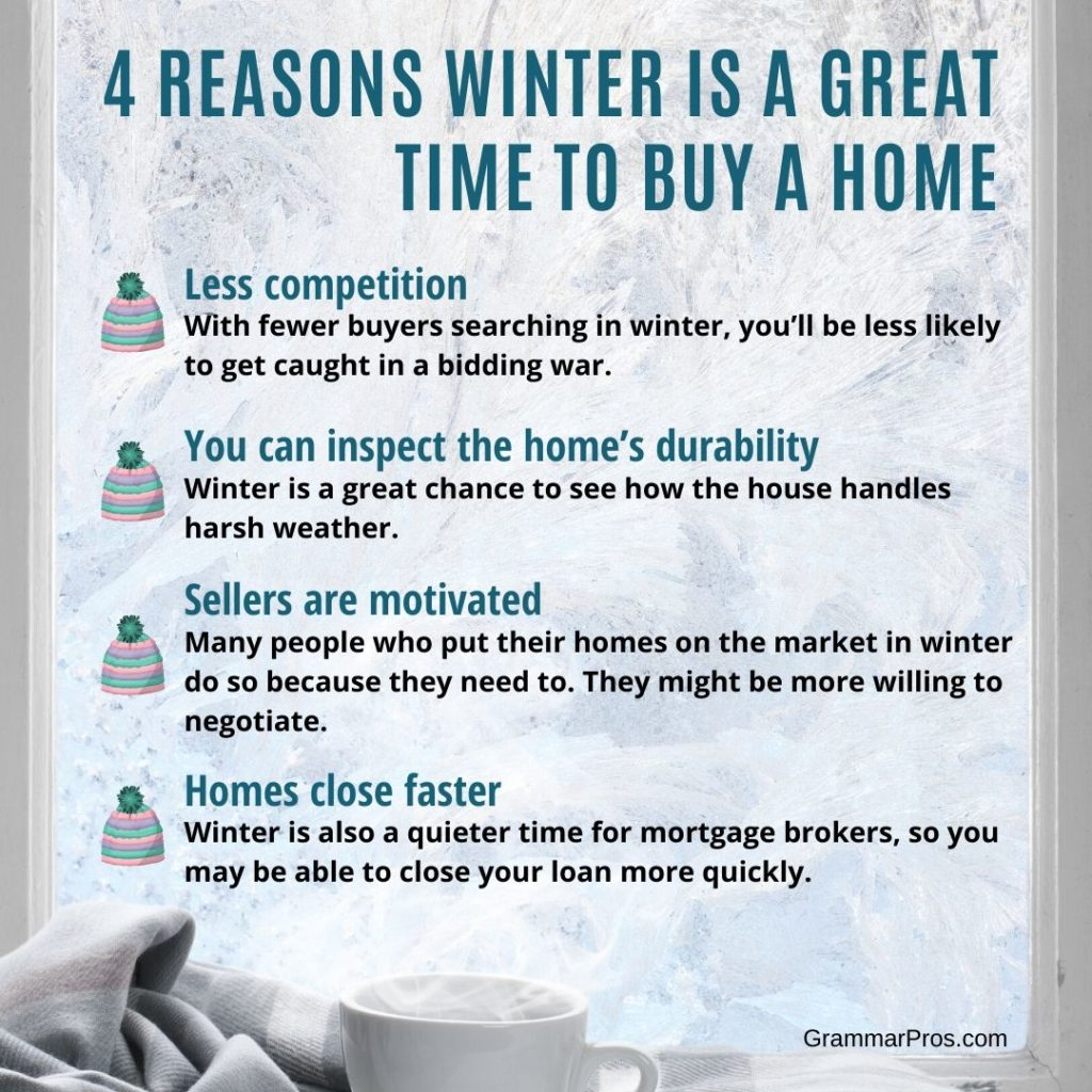 list of 4 reasons winter is a great time to buy a home