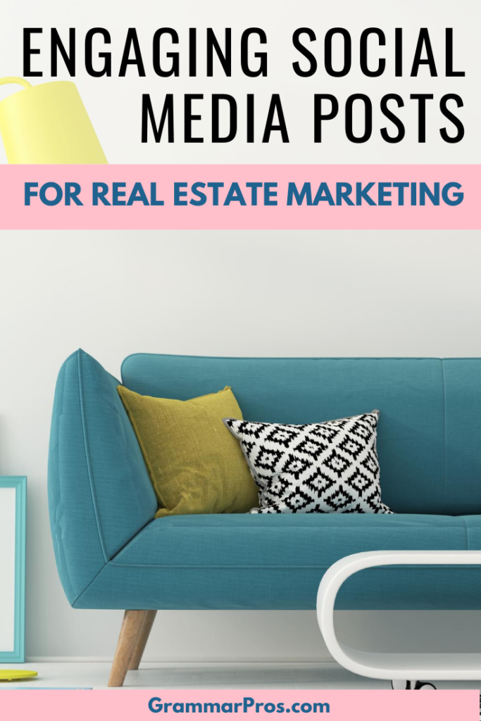 teal sofa with text overlay engaging posts for social media