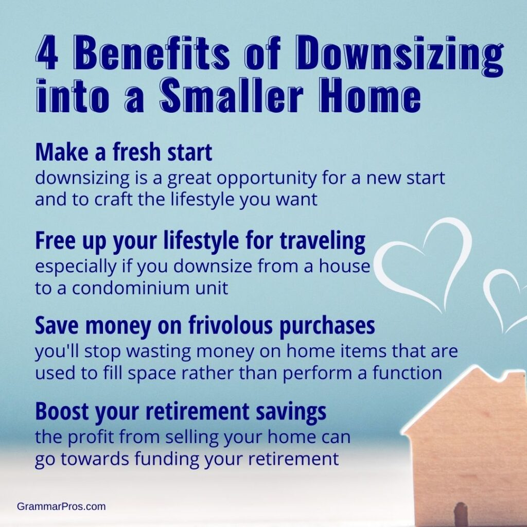 list of benefits of downsizing your home