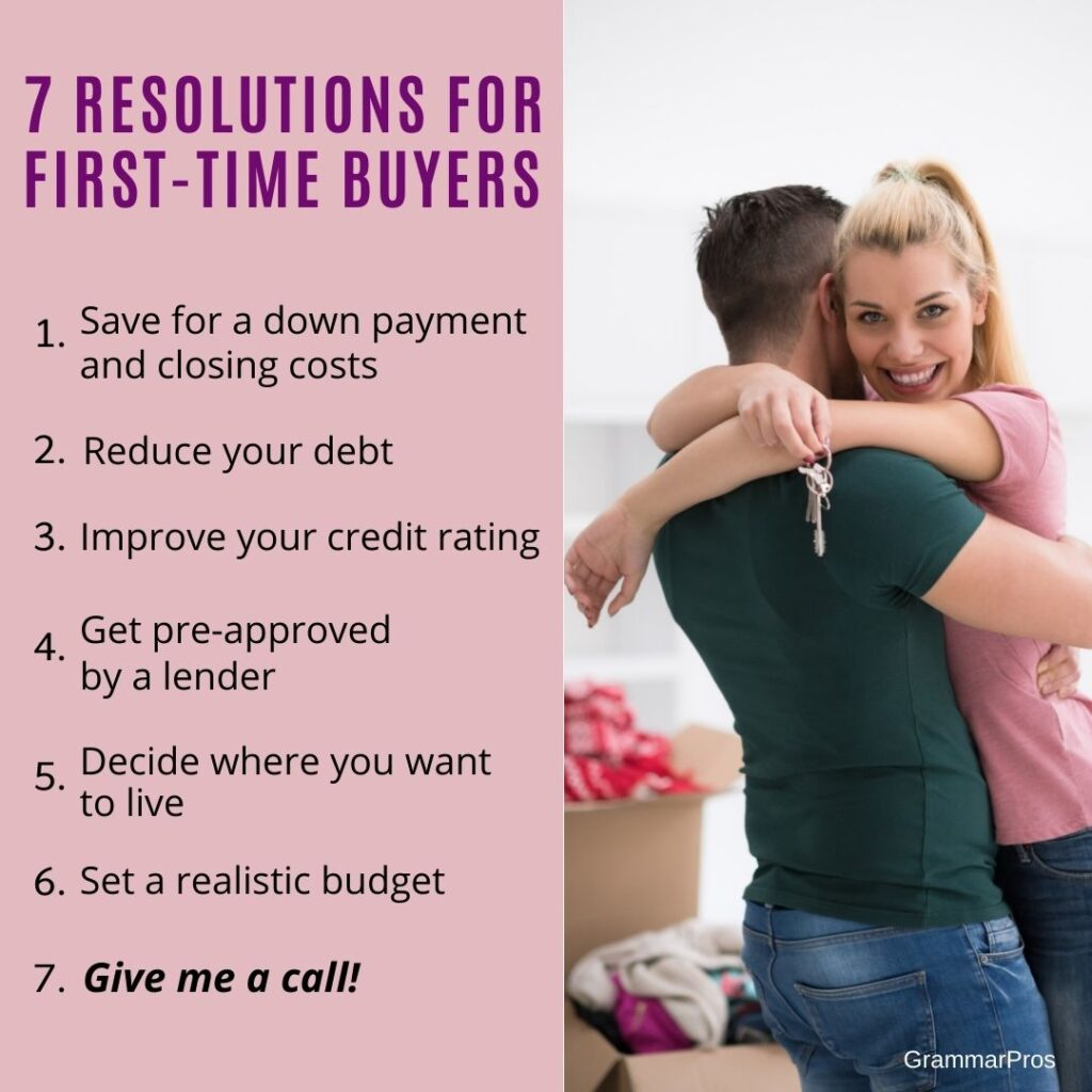 list of 7 resolutions for first-time home buyers