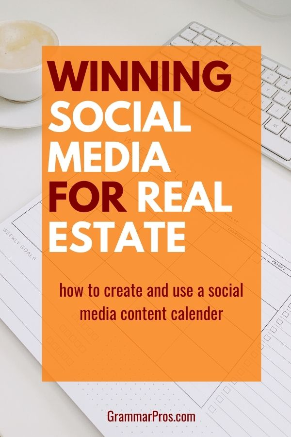 graphic that says winning social media for real estate